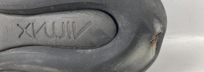 ナイキ720スニーカー(NIKE)エアー抜け(パンク)修理