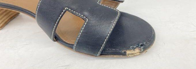 エルメスオアジス犬に噛まれた靴補修事例